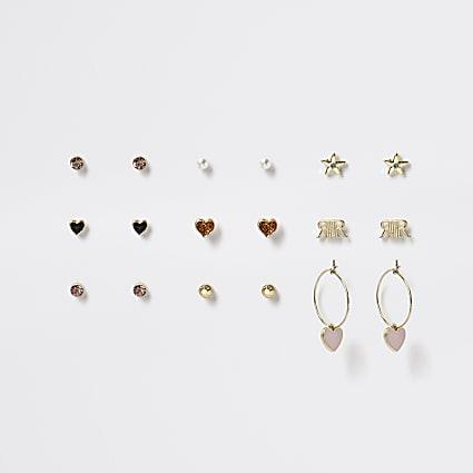 Girls gold heart logo earrings 9 pack