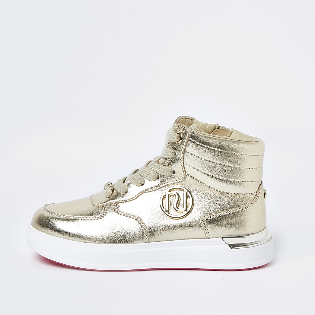 Girls gold high top trainers