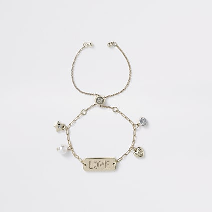 Girls gold 'LOVE' charm bracelet