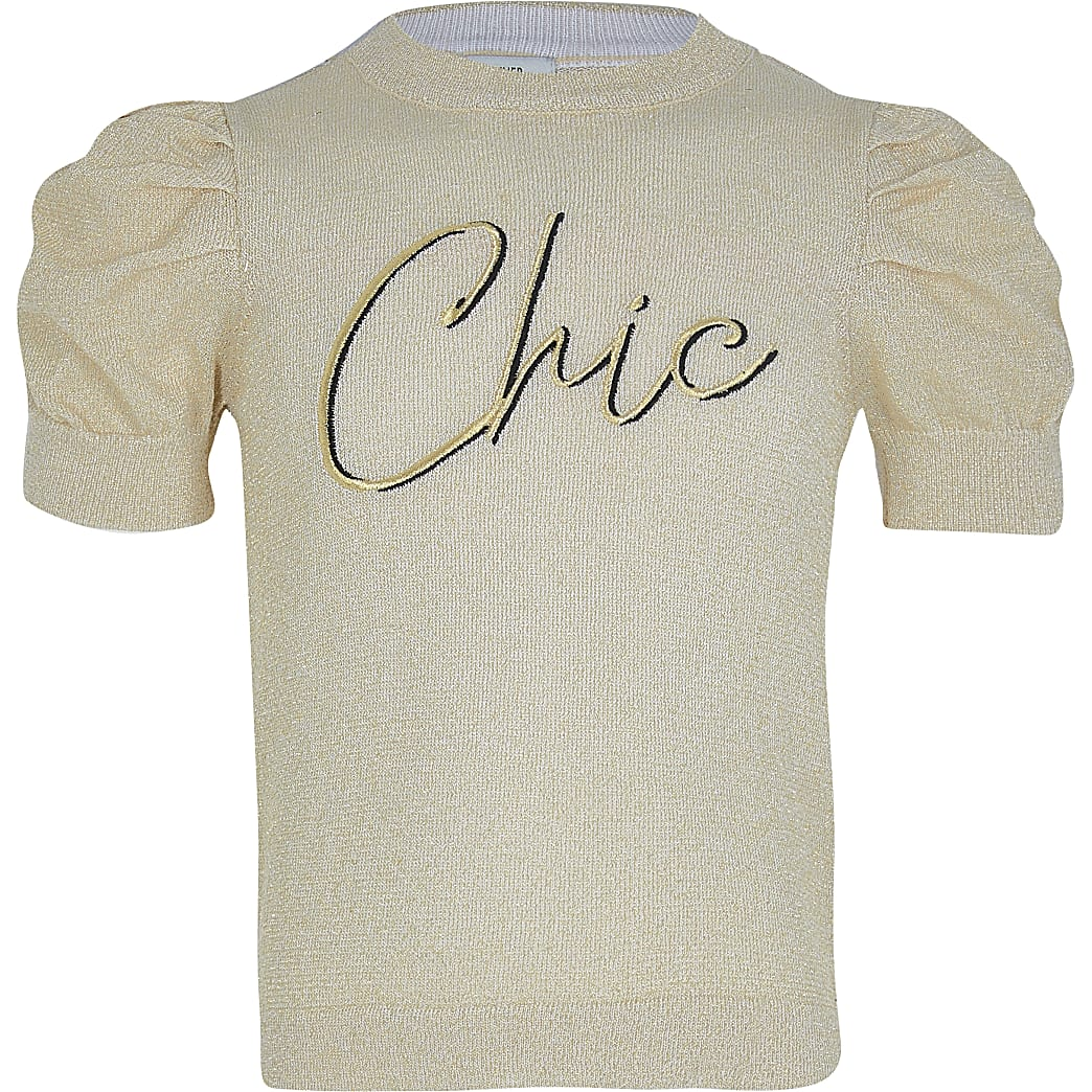 Girls gold lurex puff sleeve knitted top