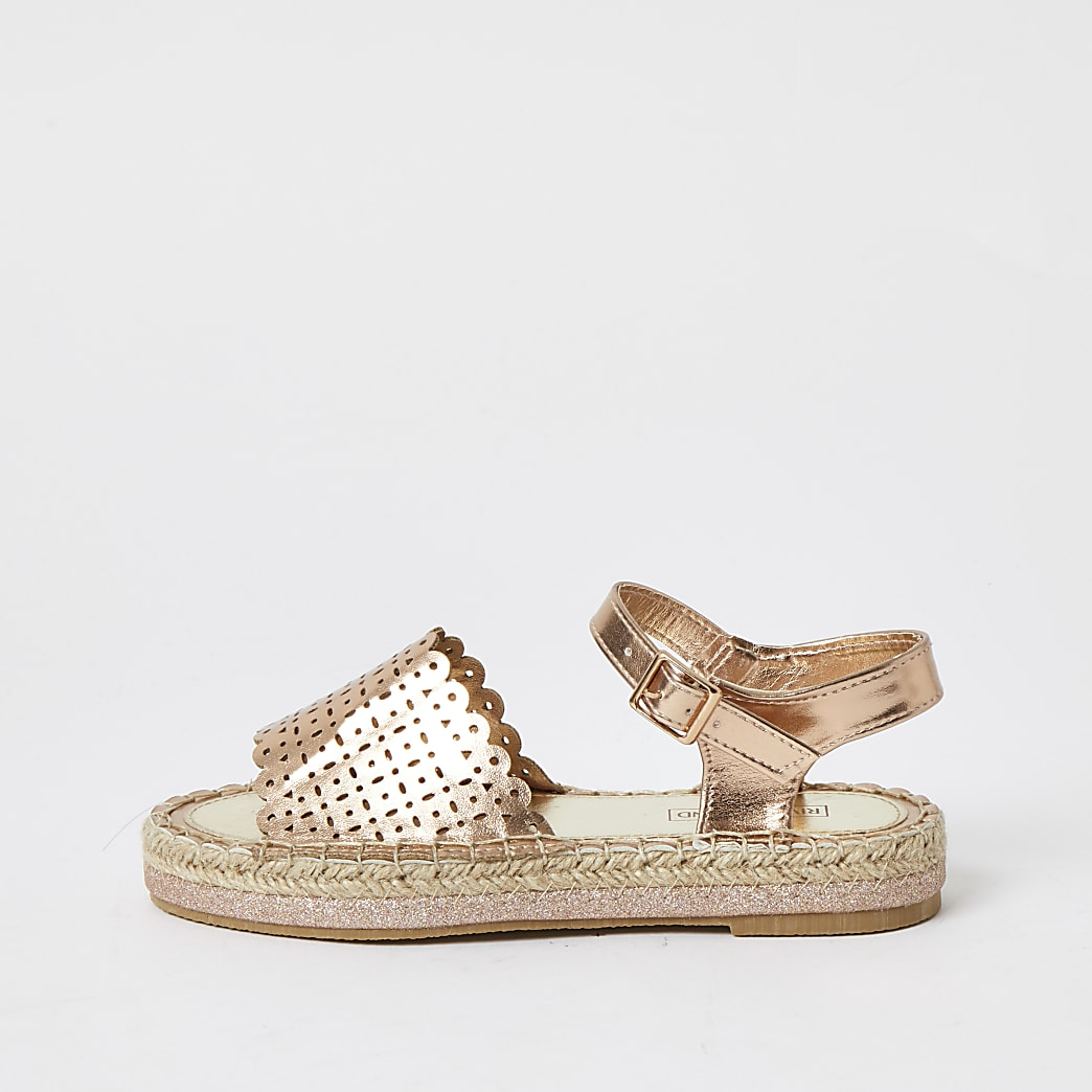 Girls gold metallic espadrille sandals