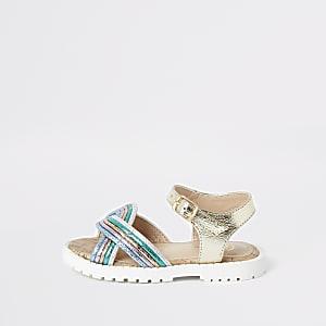 Goudkleurige metallic sandalen voor meisjes
