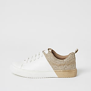 Girls gold metallic spliced lace-up trainers