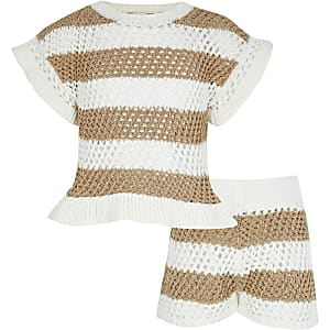 Girls gold metallic stripe crochet outfit