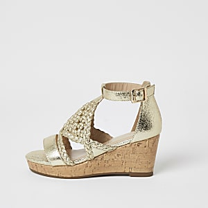 Girls gold metallic woven wedge sandals