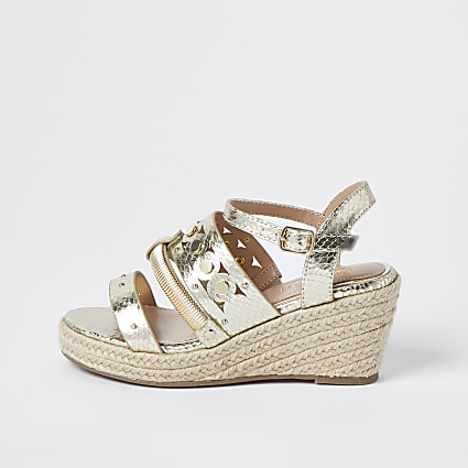 Girls gold mixed metal wedge sandals