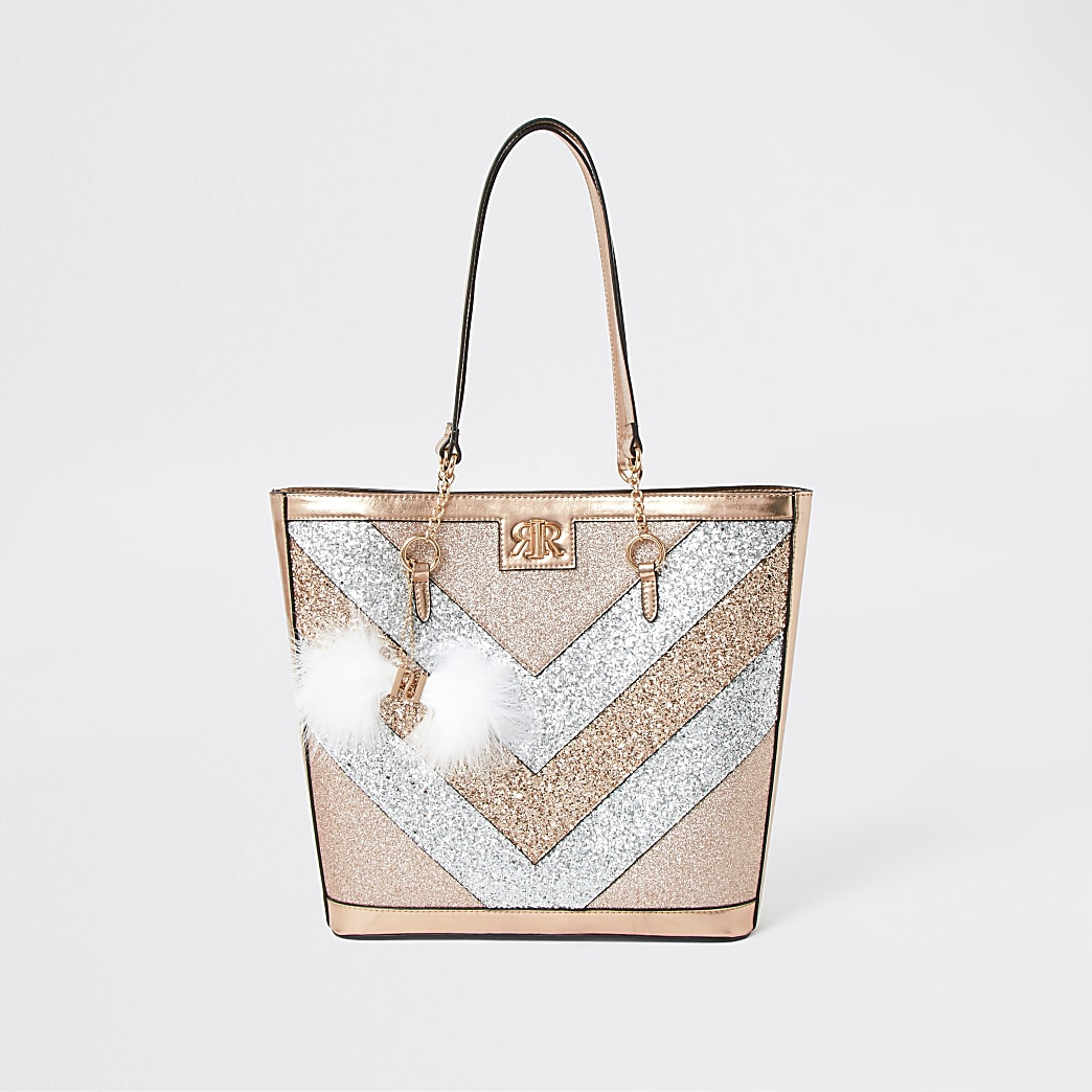 Girls gold panel glitter shopper bag