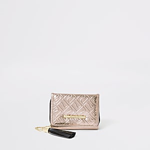 Goudkleurige portemonnee met drie vakken en RI-monogram voor meisjes