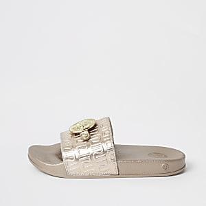 Goudkleurige slippers met RI-monogram voor meisjes