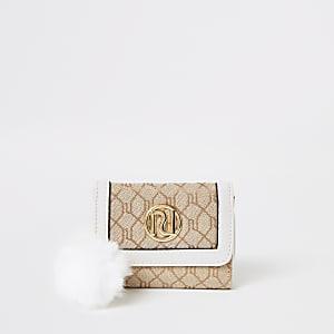 Girls gold RI monogram trifold purse