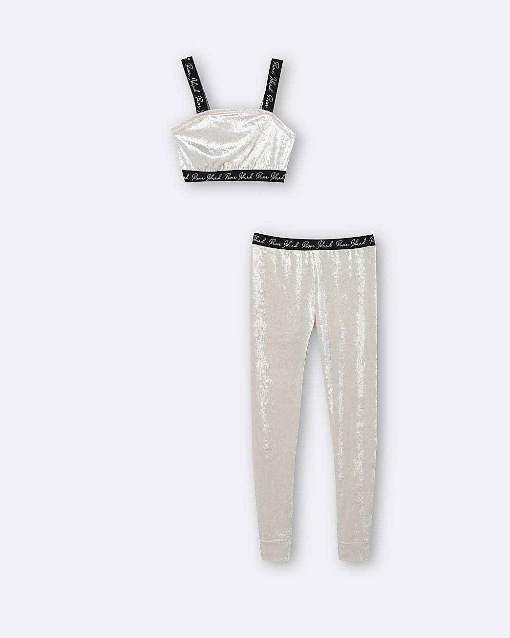 Girls gold RI velour crop top and leggings