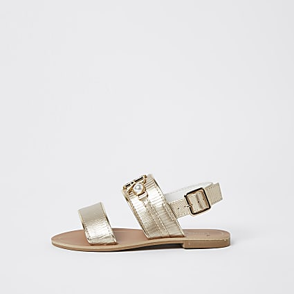 Girls gold RIR sandals