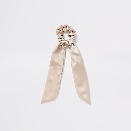 Girls gold satin tailed scrunchie