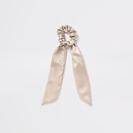 Girls gold satin tailed scrunchie