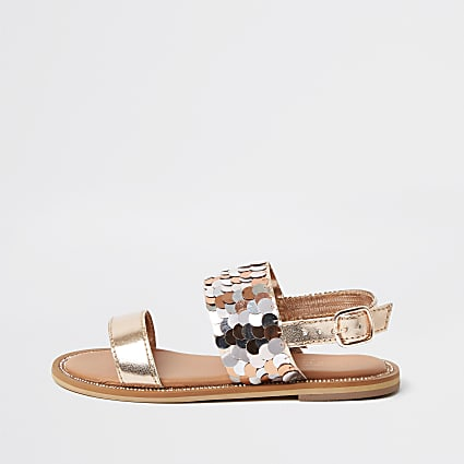 Girls gold sequin embellish sandals