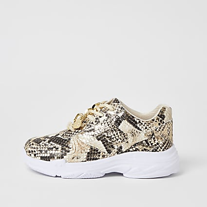 Girls gold snake printed chunky trainers
