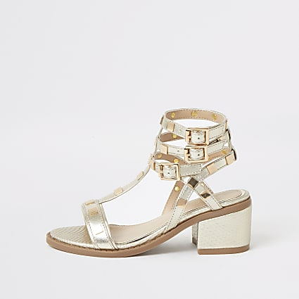 Girls gold studded gladiator heeled sandals