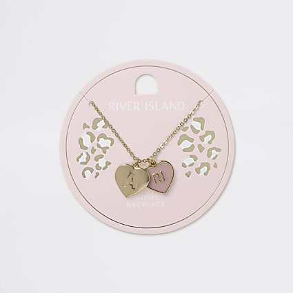 Girls gold tone A initial heart necklace