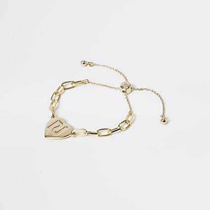 Girls gold tone chain heart bracelet