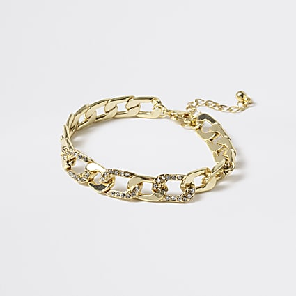 Girls gold tone diamante chain anklet
