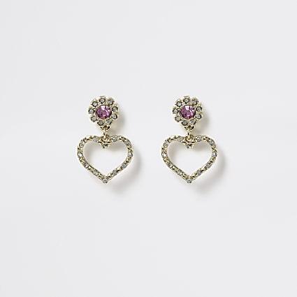 Girls gold tone diamante heart stud earrings