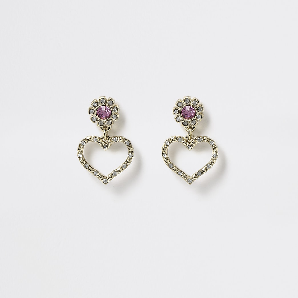 Girls gold tone diamante heart stud earrings