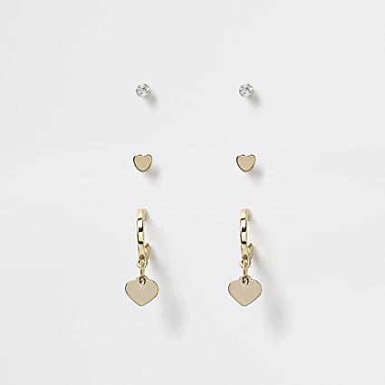 Girls gold tone diamante hoop earring 3 pack