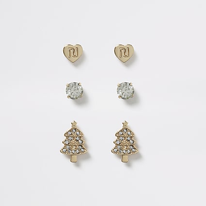 Girls gold tone diamante stud earrings 3 pack