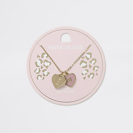 Girls gold tone E initial heart necklace