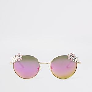 Lunettes de soleil dorées à verres miroirs forme fleur pour fille