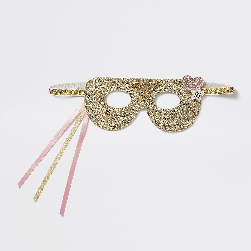 Girls gold tone glitter eye mask
