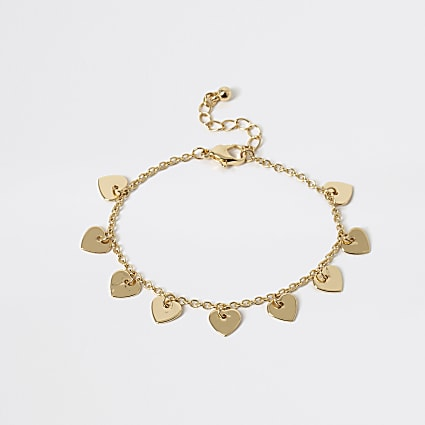 Girls gold tone heart anklet