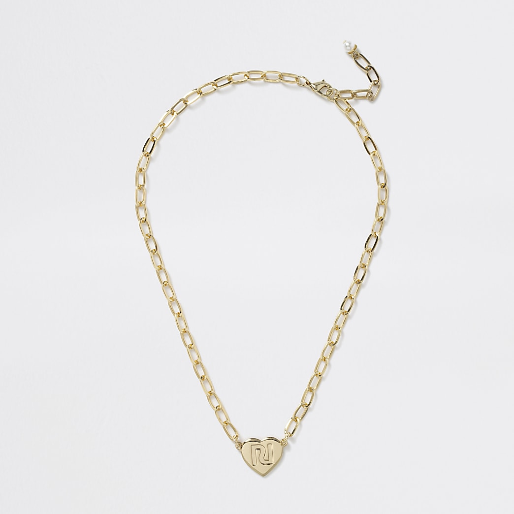 Girls gold tone heart chunky necklace
