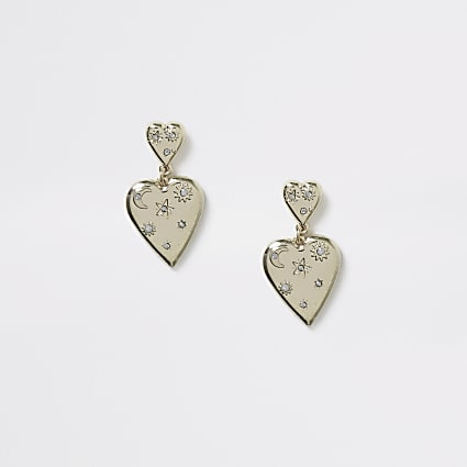 Girls gold tone heart drop stud earings