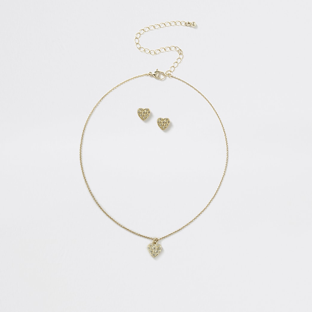 Girls gold tone heart necklace set