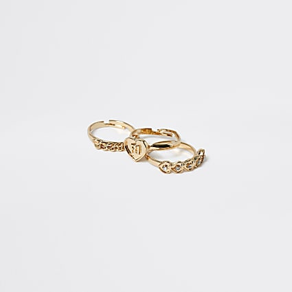 Girls gold tone heart rings 3 pack