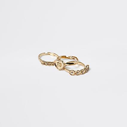 Girls gold tone heart rings 3 pack