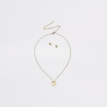 Girls gold tone heart stud ditsy set