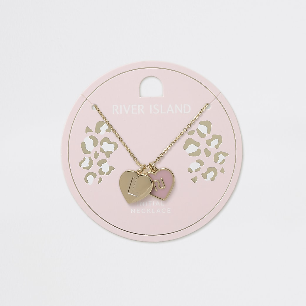 Girls gold tone L initial heart necklace