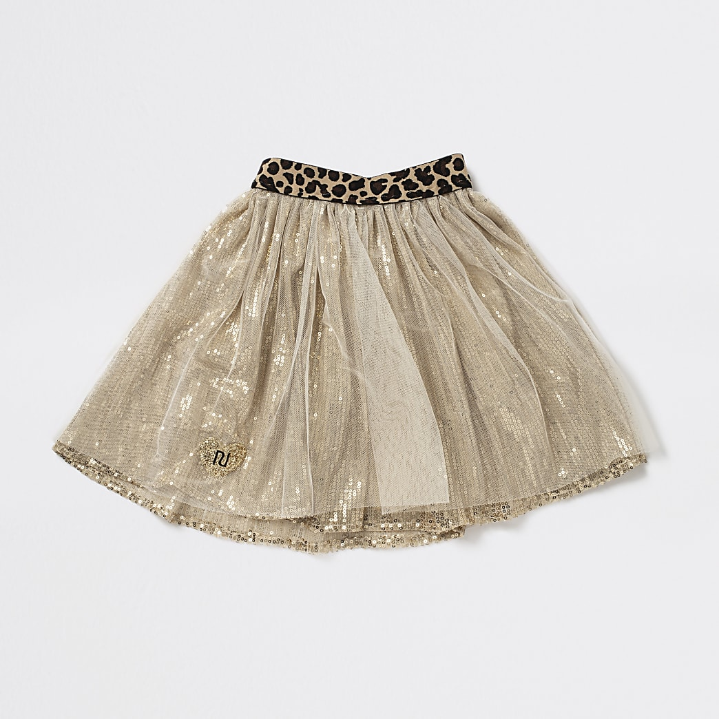 Girls gold tone leopard print tutu
