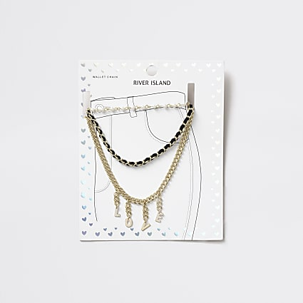 Girls gold tone 'Love' pearl wallet chain