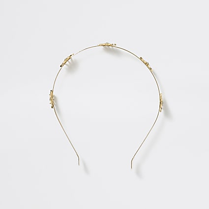 Girls gold tone metal diamante headband