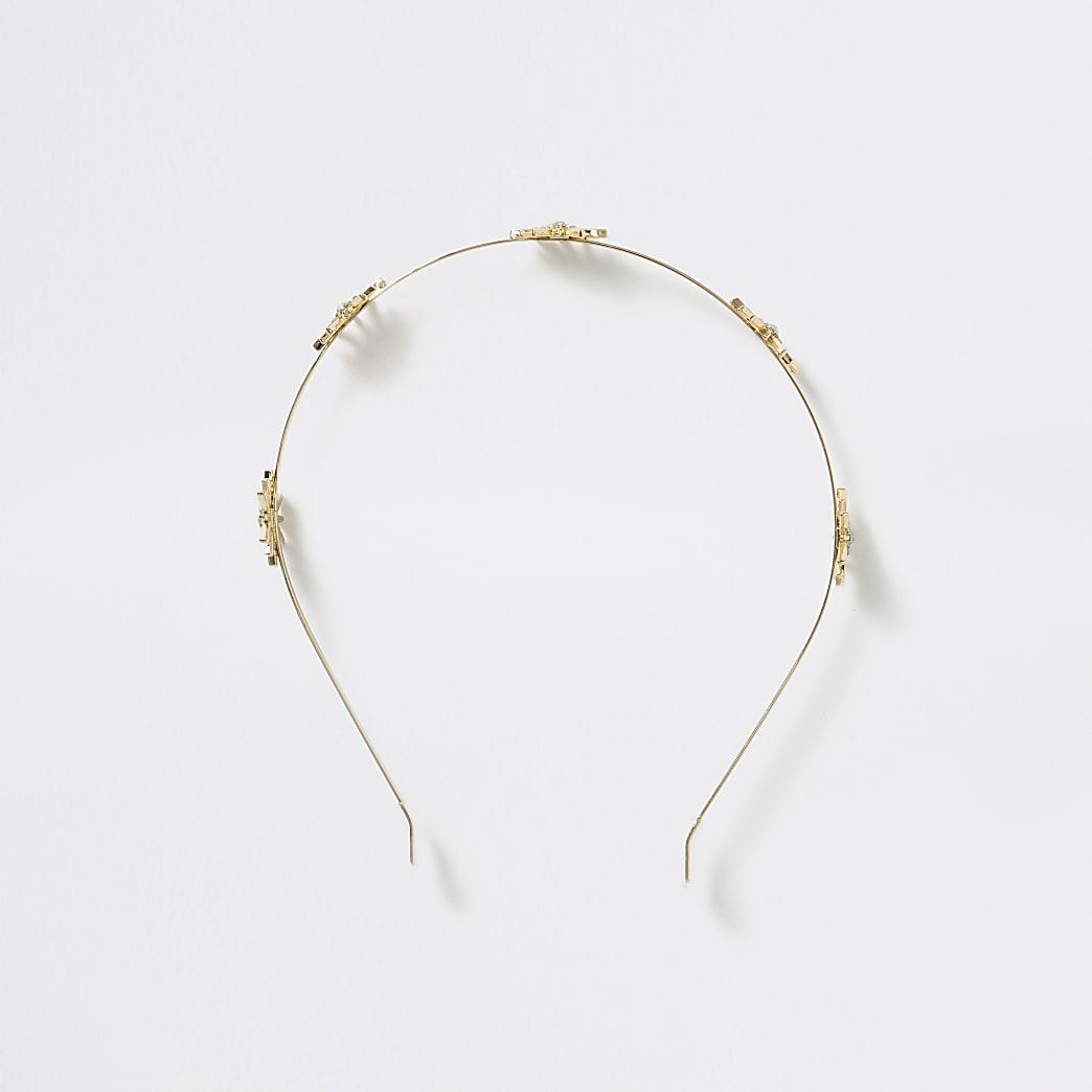 Girls gold tone metal diamante headband