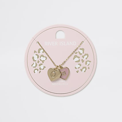 Girls gold tone O initial heart necklace