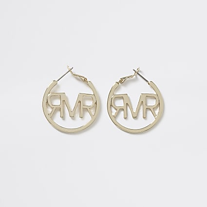 Girls gold tone RI hoop earings