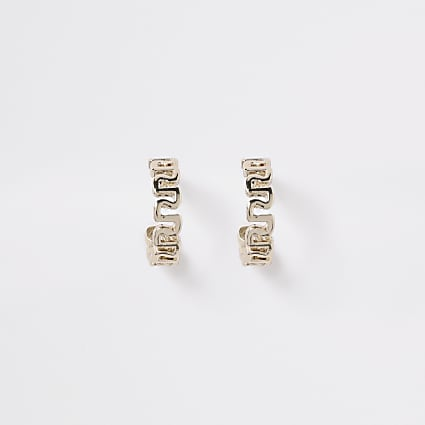 Girls gold tone RI hoop earrings
