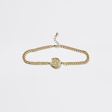 Girls gold tone RI logo chain choker necklace