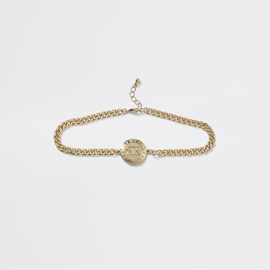 Girls gold tone RI logo chain choker necklace