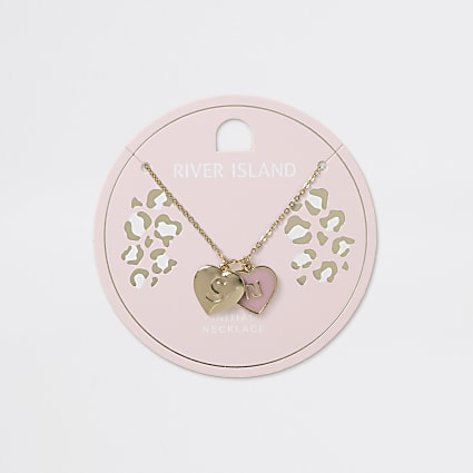 Girls gold tone S initial heart necklace