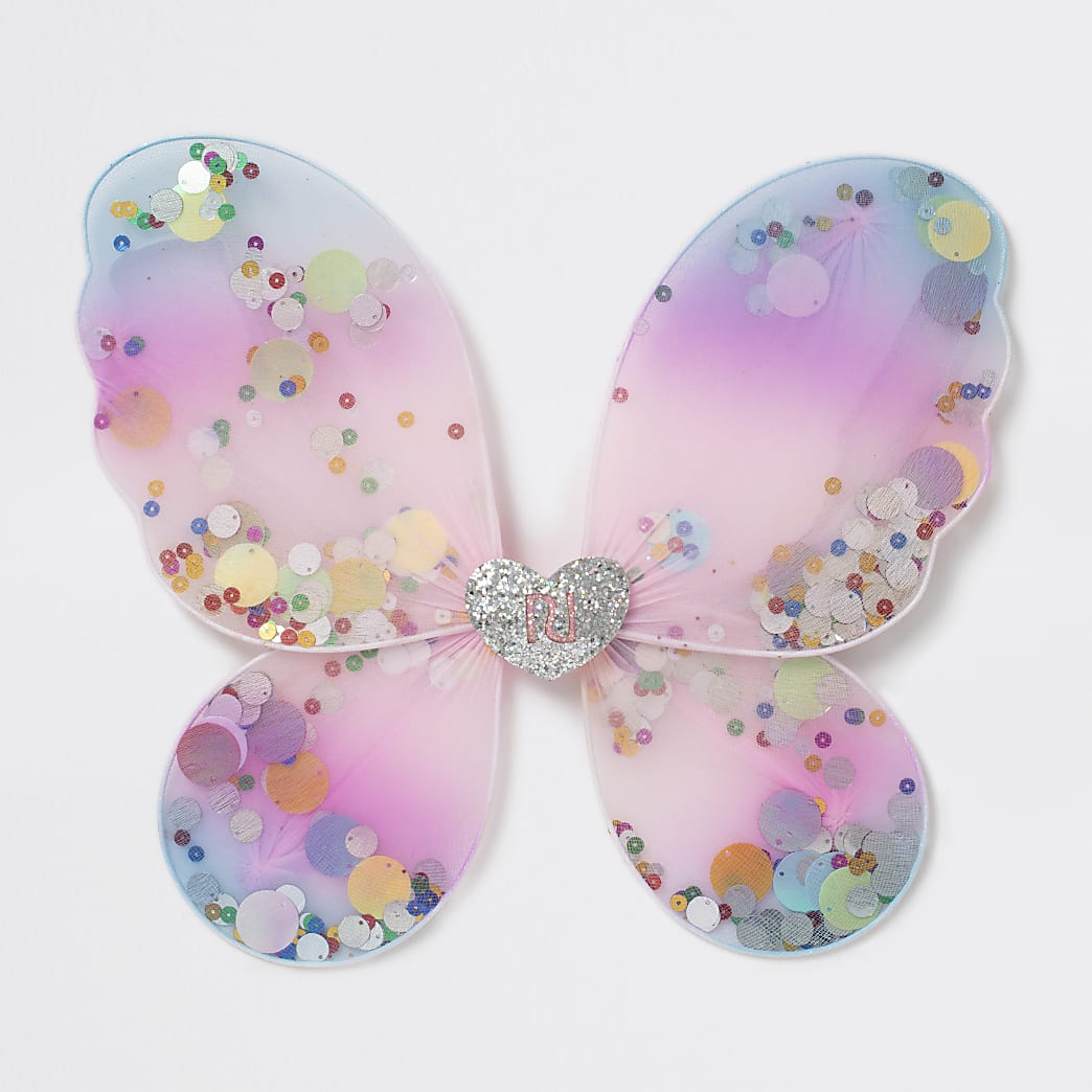 Girls gold tone sequin butterfly wings